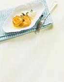 Monkfish piccata with polenta