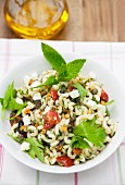 Summer pasta salad with olives and capers