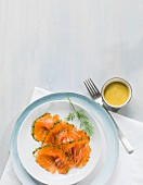 Pickled salmon with mustard sauce
