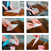 A piping bag being made from parchment paper