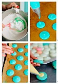 Turquoise macaroons being made