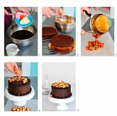 A chocolate cake with salted caramel and macadamia nuts being made