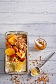 Honey ice cream with Amaretti and nectarines