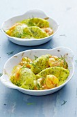 Dill dumplings with prawns in a creamy saffron sauce