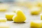 Unbaked shortbread hearts