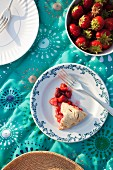 Whole Strawberry Pie on Rustic Background