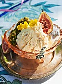 Rum and raisin ice cream with figs