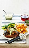 Steak with mushrooms and mustard mayonnaise
