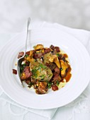 Marinated fennel with bacon and chanterelle mushrooms