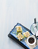 Chinese prawn ravioli with soy sauce