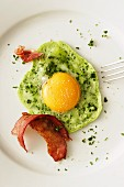 A green fried egg with bacon