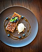 Pecan pie with tonka bean ice cream