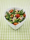 Bean, onion and tomato salad