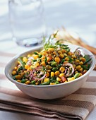 A vegetable and sweet corn salad