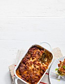 Mediterranean vegetable bake with aubergines, tomatoes and courgettes