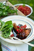 Lamb chop with redcurrant sauce on a garden table