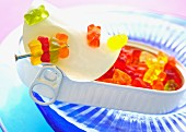 Colourful gummy bears in a tin