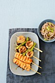 Scallop and salmon skewers with yakitori sauce