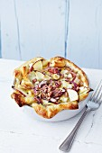 Apple and onion puff pastry tart