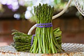 Two bunches of green asparagus