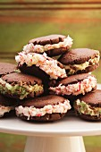 Chocolate sandwich biscuits filled with crushed peppermint rock