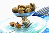 Fresh clams from Thailand in a silver dish