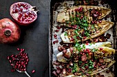 Grilled chicory with pomegranate seeds and Pancetta