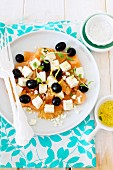 Refreshing grapefruit and feta salad