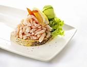 An open shrimp sandwich