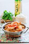 Satay prawns with rice