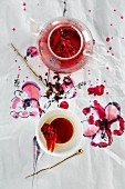 Hibiscus tea and vodka jelly