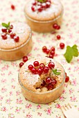 Mini cakes with redcurrants and icing sugar