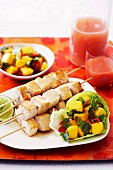 Swordfish skewers with mango salsa