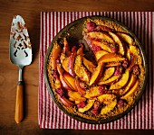 Peach and rasberry cobbler in a baking dish