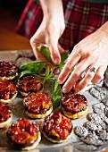 Tomato upside-down cakes
