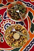 Fried calamari with salad (Goa, India)