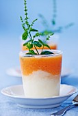 Lemon sorbet with peach and mint