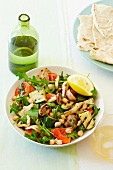 Mediterranean pepper and courgette salad with chickpeas, mushrooms and rocket