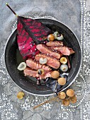 Fried duck breast with rum, lychees and long pepper (Mauritius)