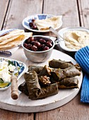 Mezze platter featuring dolmades (Greece)