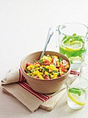 Corn salad with tomatoes and coriander