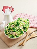 Savoy cabbage salad with peas, radishes and mint