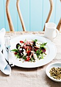 Beetroot salad with beef and mozzarella