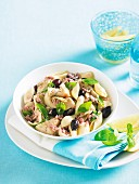 Shell pasta with tuna, artichokes and olives