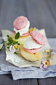 Ice cream sandwiches on pepino melon with pansies