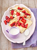 Pancakes with cottage cheese, strawberries and lemon cream