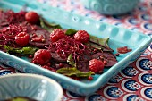 Beetroot salad with raspberries