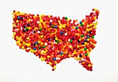 A map of the United States made from colourful sweets