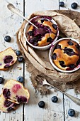 Clafoutis with blueberries and cherries