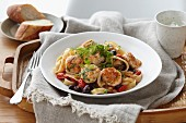Linguine with salmon dumplings and herbs